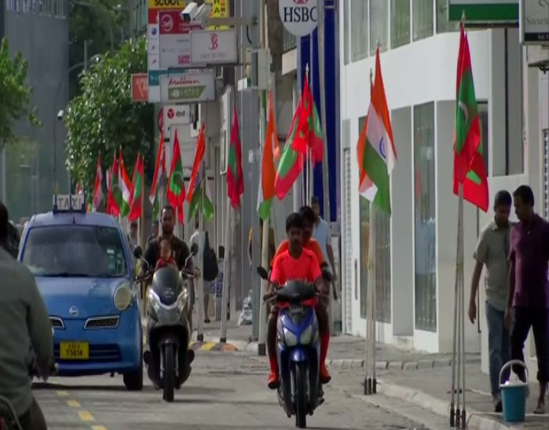 Flags of Maldives and India line up streets of Malé (Photo/ANI)