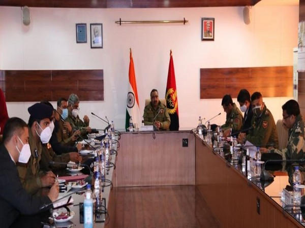 Jammu and Kashmir Director-General of Police (DGP) Dilbag Singh in the meeting with officials on Monday. Photo/ANI