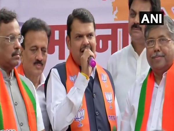 Maharashtra Chief Minister Devendra Fadnavis addressing party workers in Mumbai on Saturday. Photo/ANI