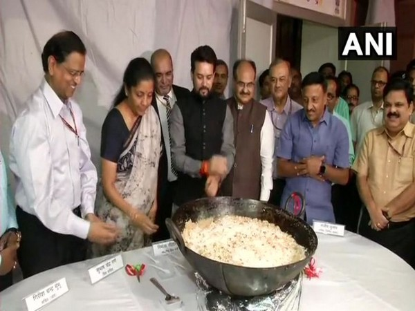 Finance Ministry Nirmala Sitharaman during the 'Halwa ceremony' at the North Block in New Delhi on Saturday. Photo/ANI