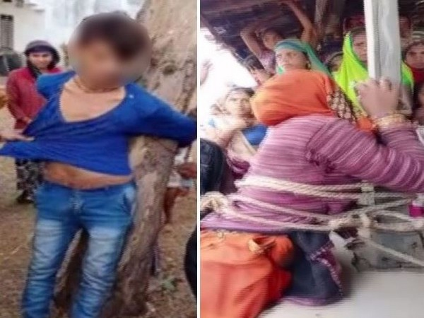 Man and woman were tied separately by the villagers in Baswara. (Photo/ANI)