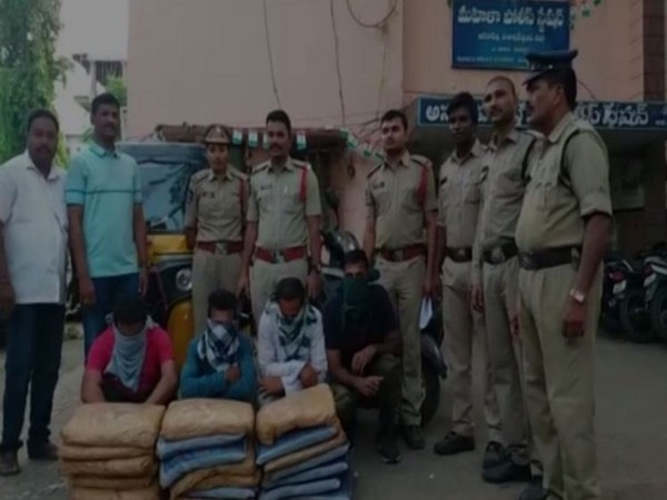 Anakapalli rural police arrested four people and recovered 40 kgs of cannabis from an auto-rickshaw in Tummala Palli village in Visakhapatnam rural area. (Photo/ANI)