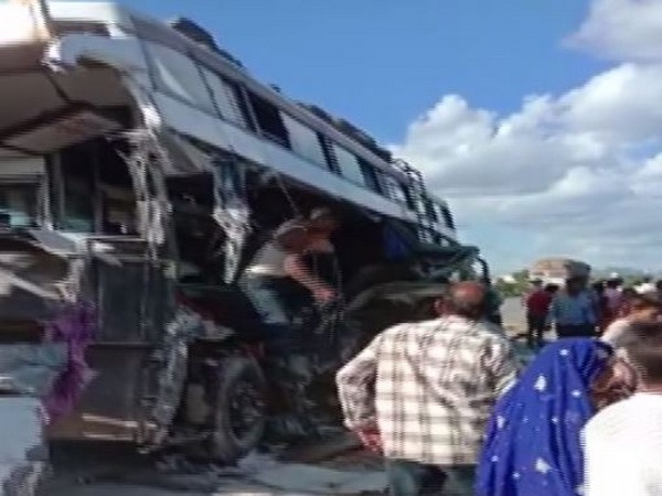 Eight people died while 20 got injured after a bus rammed into a truck near Lamana village in Ajmer on Sunday. (Photo/ANI)