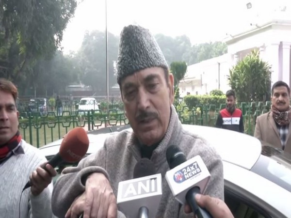 Congress leader Ghulam Nabi Azad speaking to media persons on Monday (Photo/ANI)
