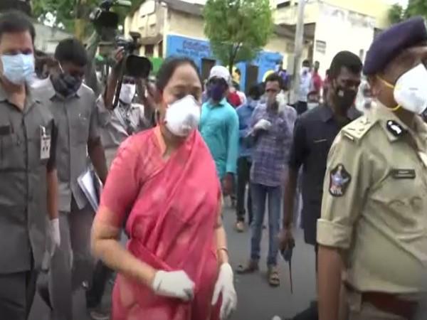 Mekathoti Sucharitha, Andhra Pradesh Home Minister at the mishap site. (Photo/ANI)