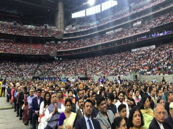 A large chunk of Indian-American audience throngs the NRG Stadium to attend the Howdy Modi! event in Houston, Texas. (Photo/ANI)