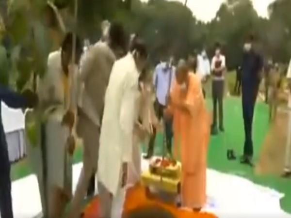 Uttar Pradesh Chief Minister Yogi Adityanath planted a sapling in Lucknow on Sunday. [Photo/ANI]
