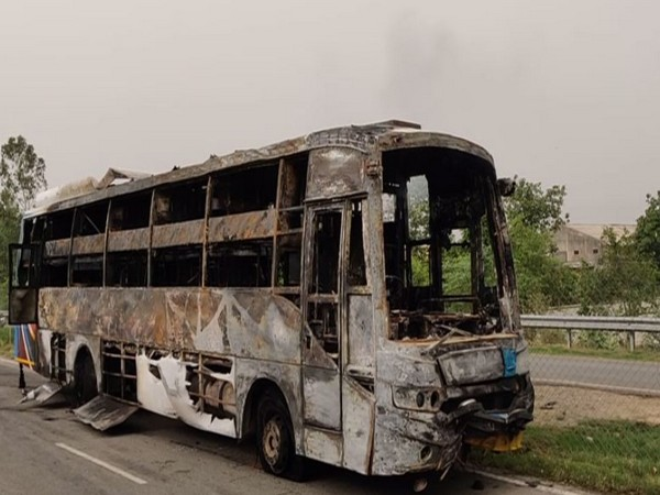 A private double-decker luxury bus caught fire in Pipli area, Haryana (Photo/ANI)
