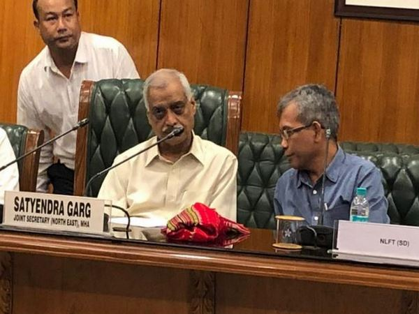 Joint Secretary (North East) and  National Liberation Front of Tripura, Sabir Devbarma during the meeting in New Delhi on Saturday. (Photo/ANI)