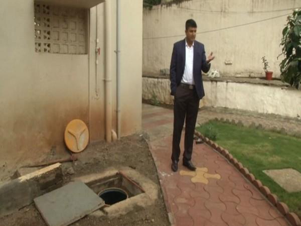 IAS Officer Rahul Pandve has constructed a rainwater harvesting facility at his government quarter in Kalaburagi. Photo/ANI