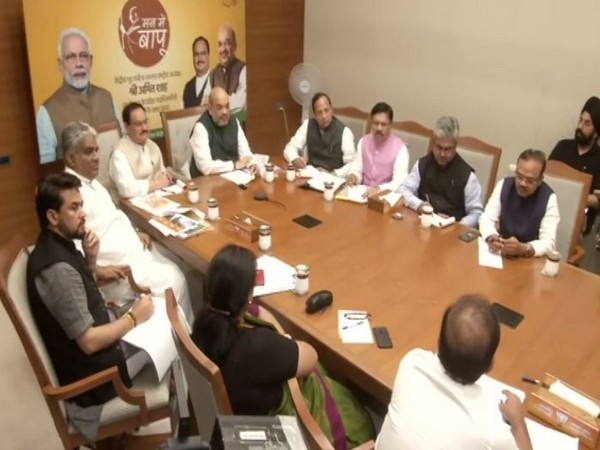Union Home Minister Amit Shah along with BJP working president JP Nadda during a meeting with party MPs via video conferencing in New Delhi on Saturday. Photo/ANI