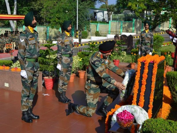 Northern Army Commander Lieutenant Gen Ranbir Singh paid tribute to soldiers on Infantry Day in Udhampur (Photo/ANI)
