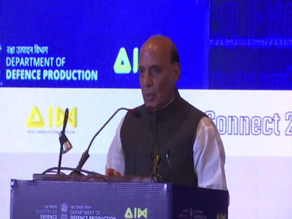 Defence Minister Rajnath Singh speaking at the inaugural session of 'Def Connect 2019' in New Delhi on Monday. Photo/ANI