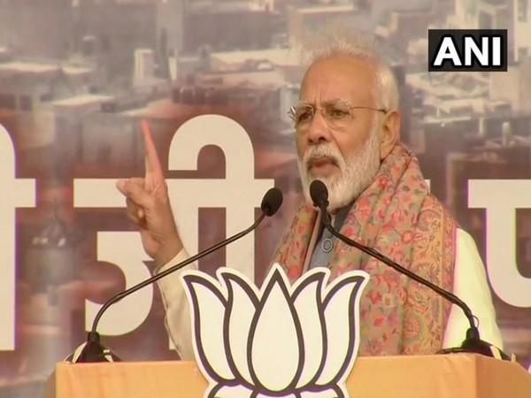 Prime Minister Narendra Modi addressing a public rally at Delhi's Ramlila ground on Sunday. Photo/ANI