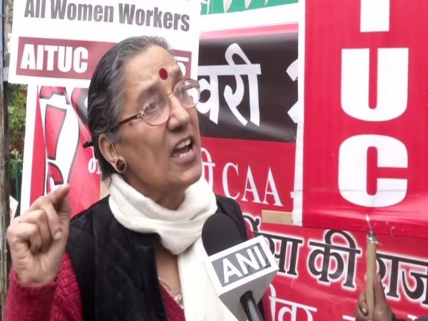 All India Trade Union Congress (AITUC) general secretary Amarjeet Kaur while speaking to ANI in New Delhi on Wednesday. Photo/ANI