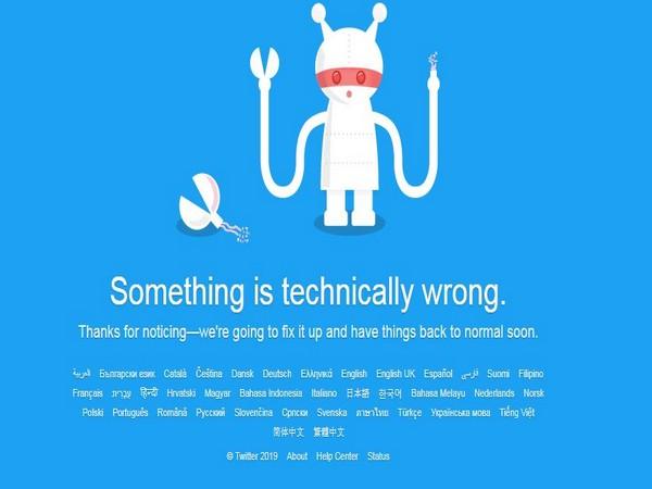 Error message on Twitter