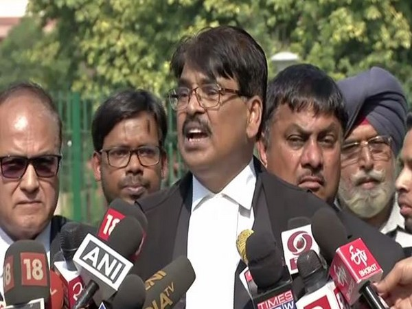 Bar Council of India (BCI) chairperson Manan Kumar Mishra speaking to media persons in New Delhi on Wednesday. Photo/ANI