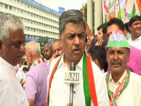 Congress leader BK Hariprasad speaking to ANI in Bengaluru on Monday. Photo/ANI