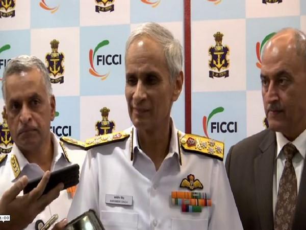 Navy Chief Admiral Karambir Singh while speaking to media in Delhi on Thursday (Photo/ANI)