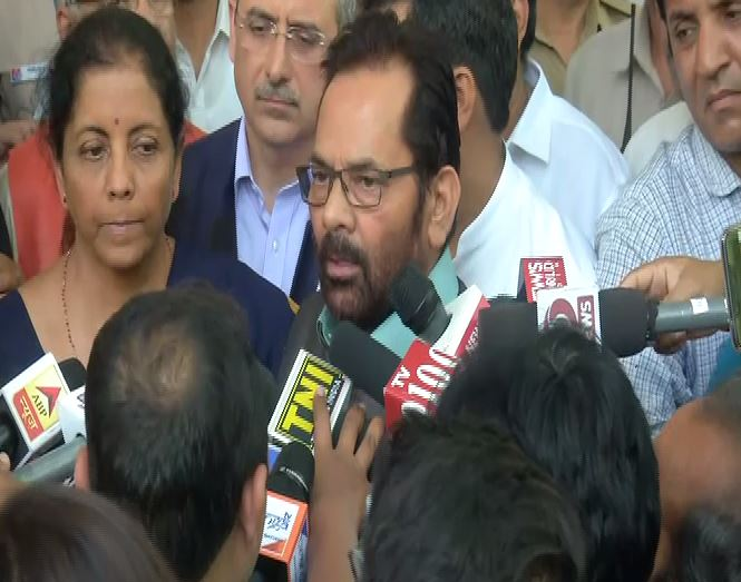 Union Minister Mukhtar Abbas Naqvi speaking to media personnel in New Delhi on Friday. Photo/ANI