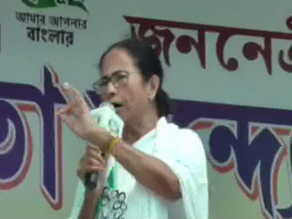 West Bengal Chief Minister Mamata Banerjee addressing an election rally in Basanti on Sunday. Photo/ANI