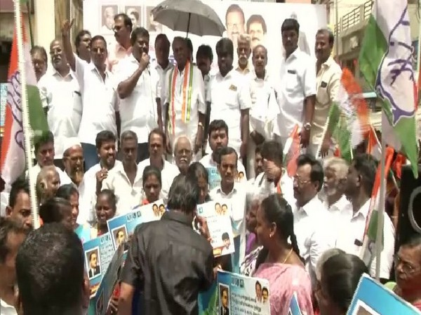 Party workers of the Indian National Congress in Chennai on Wednesday.  Photo/ANI