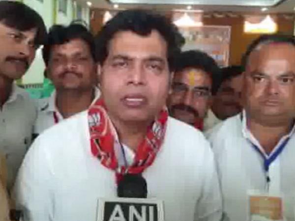 Uttar PradeshEnergy Minister Shrikant Sharma speaking to ANI in Mathura on Sunday. Photo/ANI