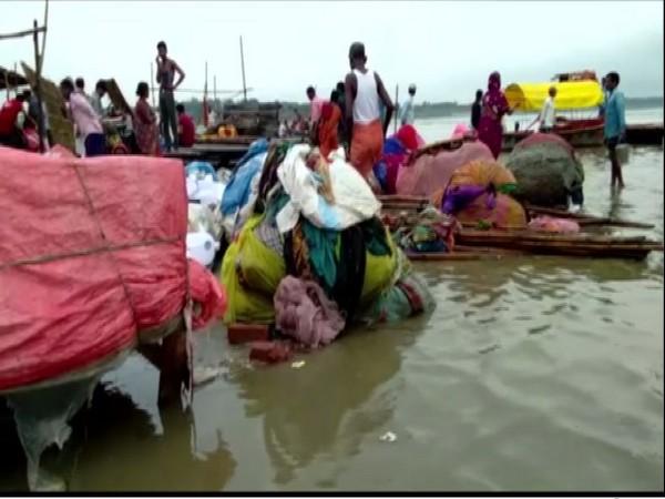 Water Levels Rise in Ganges at Sangham Ghat in Prayagraj [Photo/ANI]