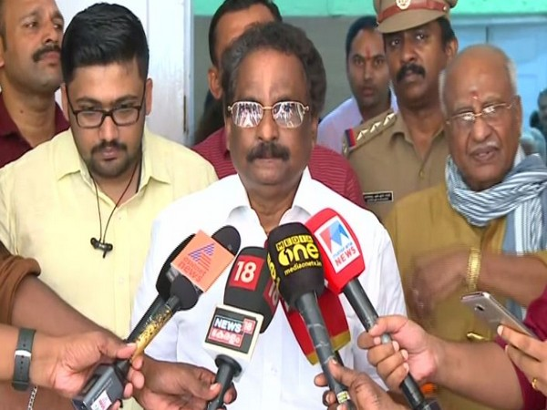 Kerala Law Minister A K Balan while addressing the media on Tuesday (Photo/ANI)