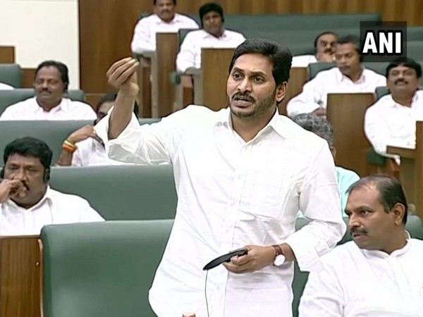 Andhra Pradesh Chief Minister YS Jagan Mohan Reddy in the State Assembly on Monday (ANI)