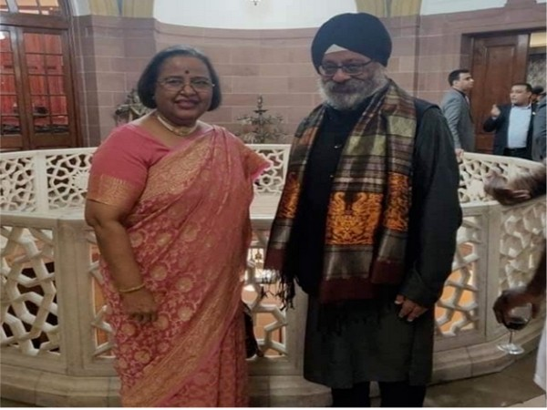 INIFD chief director Surjeet Singh Manchanda at at 'India day' - London Fashion Week with Indian High Commissioner Ruchi Ghanshyam