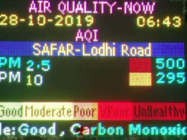 Major pollutant levels of PM 2.5 were at  500 in 'Severe' category, in Lodhi Road area on Monday (Photo/ANI)