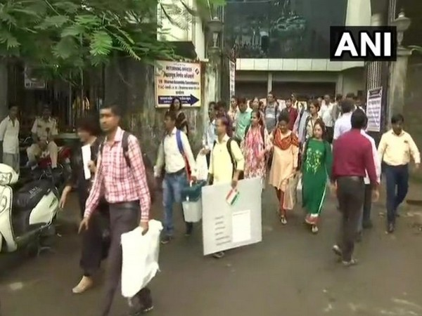 Polling parties leaving for their respective polling booths, ahead of Maharashtra Assembly elections (Photo/ANI)