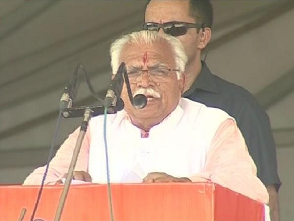 Haryana Chief Minister Manohar Lal Khattar addressing a rally in Rohtak on Sunday. Photo/ANI