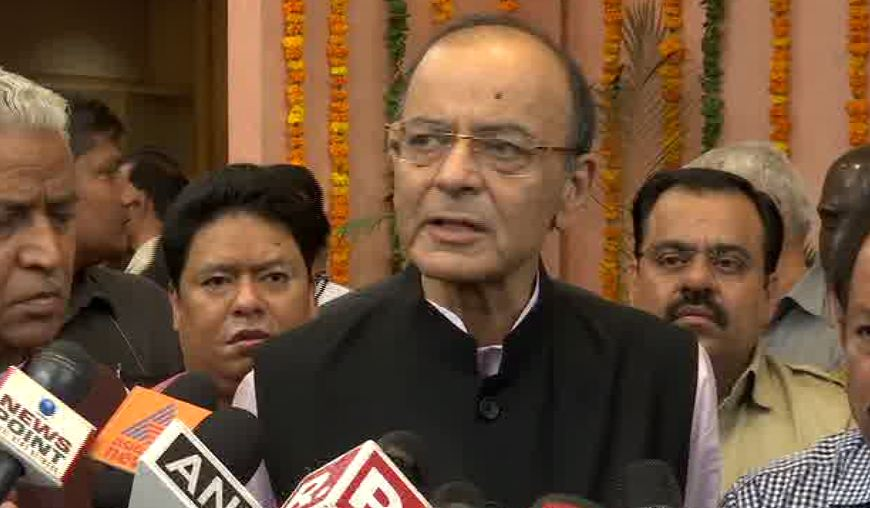 Finance Minister Arun Jaitley while speaking to media on Saturday (Photo/ANI)
