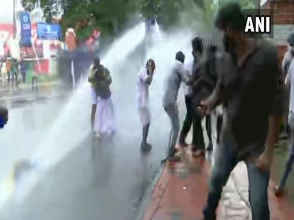Police personnel used water cannons to disperse the protesters (Photo/ANI)