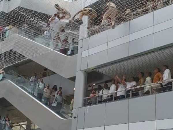The two teachers jumped off the Mantralaya building on to the safety nets on Wednesday. Photo/ANI