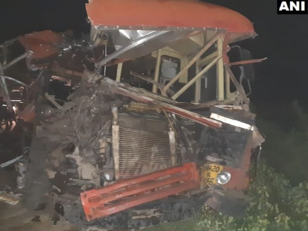 A bus collided with a canter truck on Sunday in Dhule, Maharashtra. (Photo/ANI)