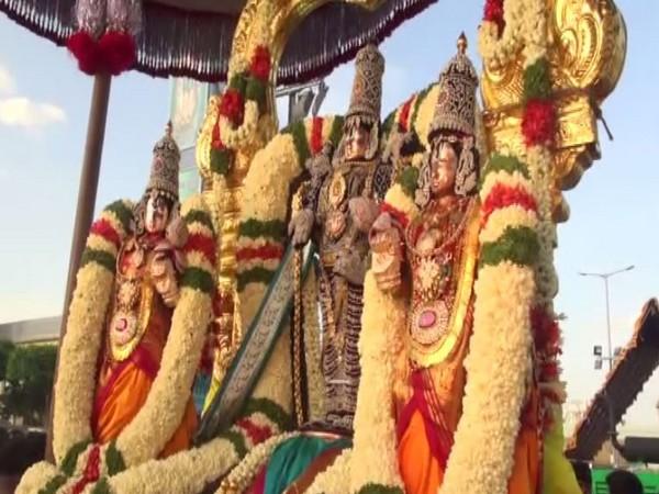 effigy of Lord Balaji, Goddess Sridevi and Goddess Bhudevi. Photo/ANI