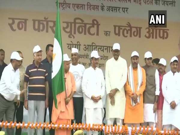 Chief Minister Yogi Adityanath flagged off the Run for Unity event in Lucknow on Thursday. Photo/ANI