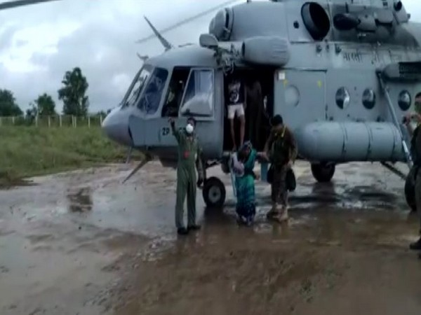People airlifted and rescued from flood-affected areas of Somalwada in Sehore by Indian Air Force
