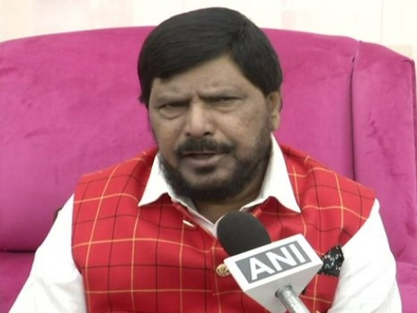 Union Minister Ramdas Athawale speaking to ANI in New Delhi on Sunday. Photo/ANI