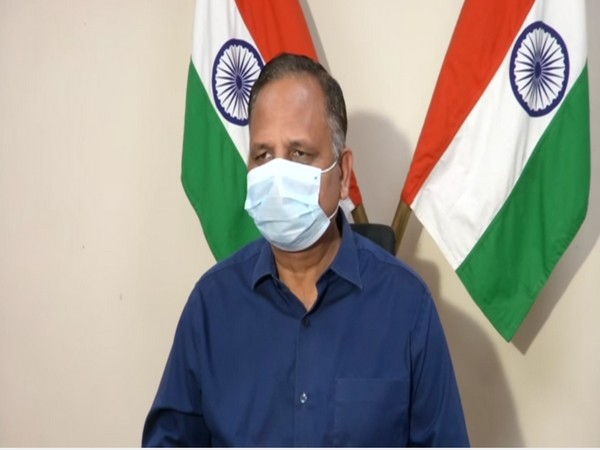Delhi Health Minister Satyendar Jain addressing a press conference on Saturday.