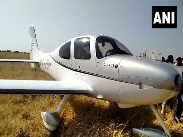 A private aircraft made emergency landing in Andhra Pradesh's Anantapur (Photo/ANI)
