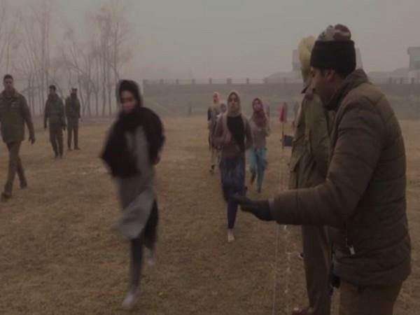Girls running during the Railway recruitment drive in Srinagar on Friday (Photo/ANI)