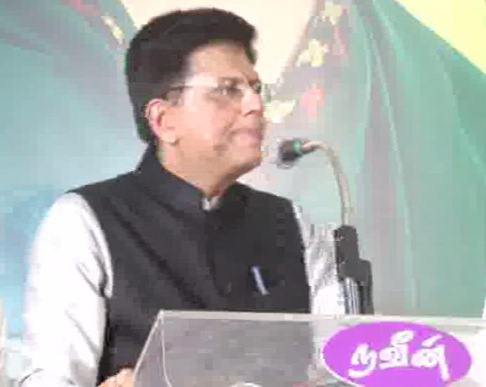 Piyush Goyal adresses public in Coimbatore, Tamil Nadu on Wednesday. [Photo/ANI]