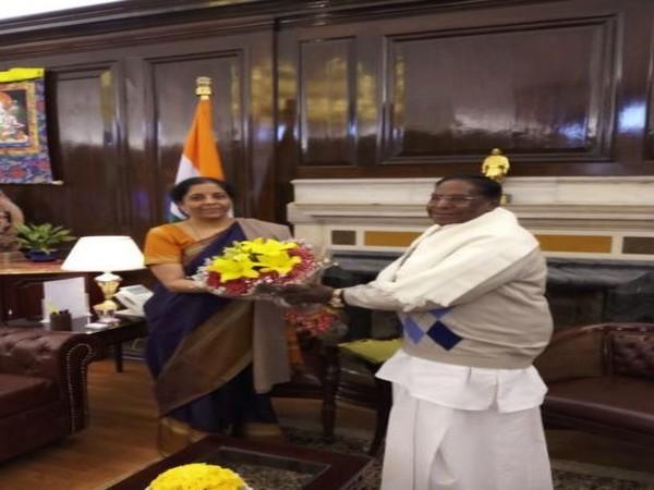 Finance Minister Nirmala Sitharaman (left) and Puducherry Chief Minister V Narayanasamy (right) (Photo/ANI)