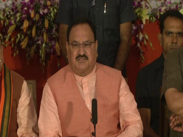 BJP National Working President JP Nadda speaking at a program held for the release of the BJP manifesto in Chandigarh on Sunday. Photo/ANI