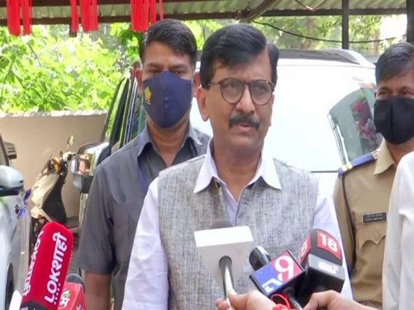 Shiv Sena leader Sanjay Raut while speaking to reporters on Sunday. (Photo/ANI)
