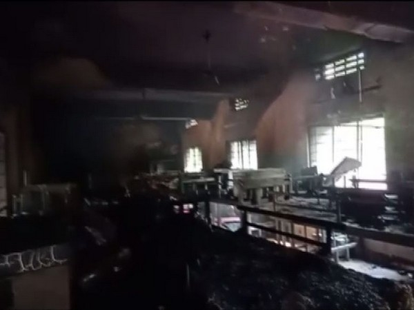 Visuals of the fire which broke out inside BC Welfare Hostel room (Photo/ANI)
